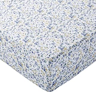 Amazon Basics Drap-housse en microfibre Bleu floral 140x200x30cm