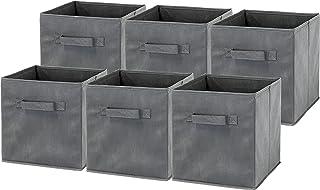 6 Pack - SimpleHouseware Foldable Cube Storage Bin, Dark Grey