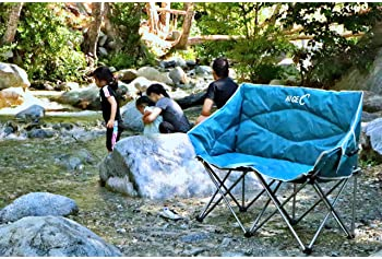 NiceC Double Camping Chair, Loveseat, Oversized Folding Camp seat with Strap Carry Bag(Blue)