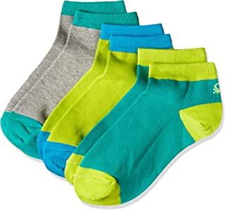 United Colors of Benetton Men's Ankle Socks (Pack of 3)(AL04I_Grey, Green and Lime_One size)-901