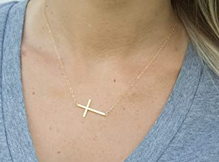 Silver/Gold/Rose Gold Sideways Thin Plain Cross Necklace