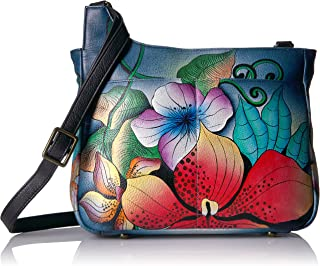 Handpainted Leather Medium Cross Body-midnight Floral
