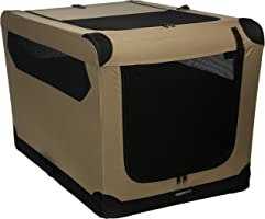 AmazonBasics Portable Folding Soft Dog Travel Crate Kennel - 24 x 24 x 36 Inches, Tan