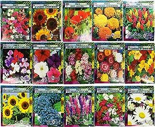 Set of 15 Black Duck Brand Heirloom Flower Seeds 15 Different Varieties Non-GMO (Variety Deluxe Flower Garden)