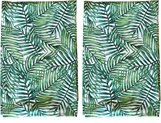 Palm Print Leaf Tea Towel SET OF 2 Absorbent Hand towels 100% cotton with hanging loop for all of your drying, wiping, and cleaning kitchen and bathroom tasks. Perfect for the plant lover!