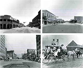 Impact Posters Gallery Vintage Las Vegas Stage Coach, The Nevada Hotel, 1915 Majestic Post Office, Overland Hotel 1930 Motor Car Old City Set Four 16x20 Black and White Wall Decor Art Print Poster