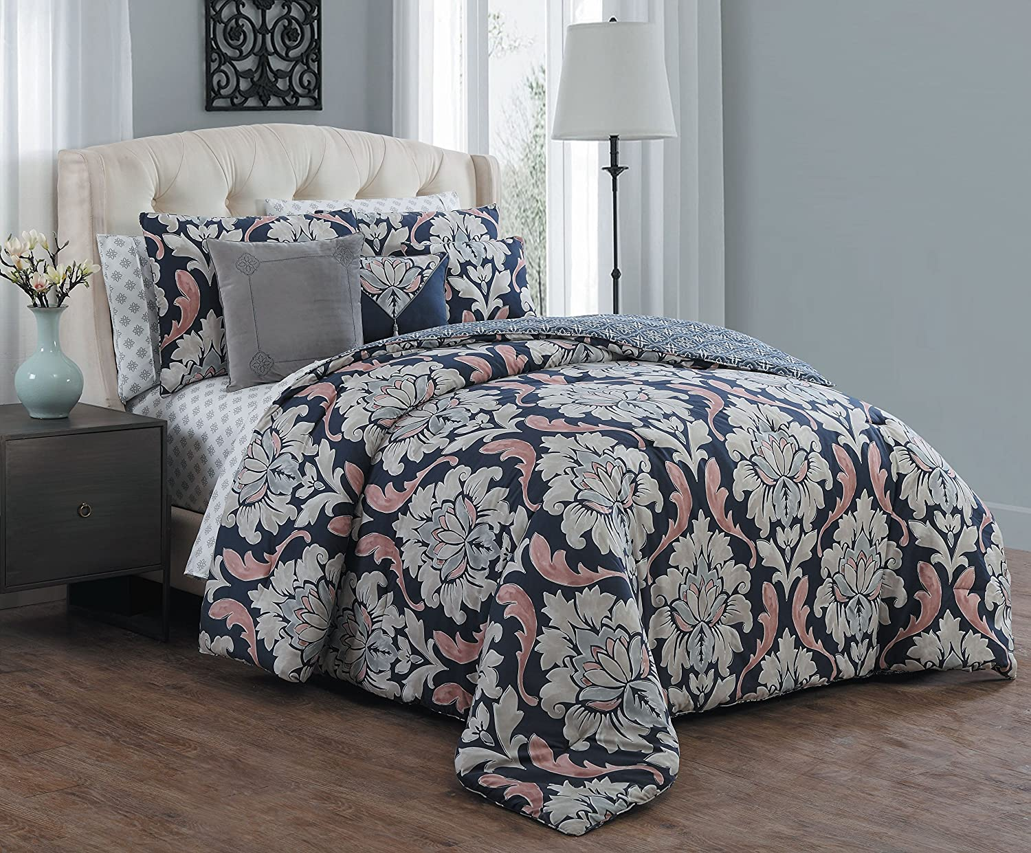 Avondale Manor Forte 10 Piece Bed in a Bag Set, King, Navy