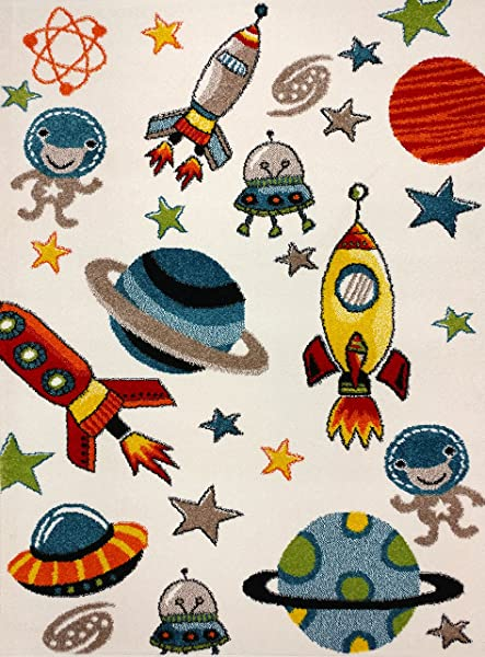KC Cubs Boy And Girl Bedroom Modern Decor Area Rug And Carpet Collection For Kids And Children Aliens And Rocket In Outer Space 3 11 X 5 3