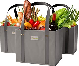 GOOZEBURRY Reusable WASHABLE Grocery Bags - 3 Pack, Collapsible Shopping Tote Boxes with Reinforced Bottom and Large Capacity - Foldable, with Long Handles, Durable Eco-Friendly, Heavy-Duty (Grey)