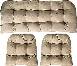 Sunbrella Frequency Sand 3 Piece Wicker Cushion Set - Indoor/Outdoor Wicker Loveseat Settee & 2 Matching Chair Cushions - Linen Look Tan/Beige