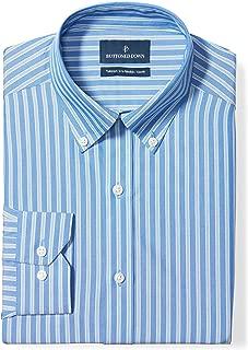 Amazon Brand - BUTTONED DOWN Men's Tailored Fit Stripe Dress Shirt, Supima Cotton Non-Iron
