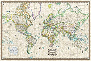 Antique World Wall Map, Old World Style - Poster Size (36