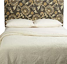 Humble + Haute Parson Floral Linen Tufted Upholstered Headboard, Queen, Grey