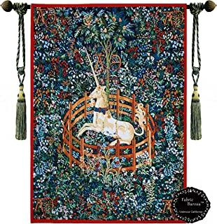 Decor Plus Unicorn in Captivity One of the Series of Seven Tapestries the Hunt of the Unicorn Jacquard Woven Wall Hanging Tapestry (Yw007) (red, 23