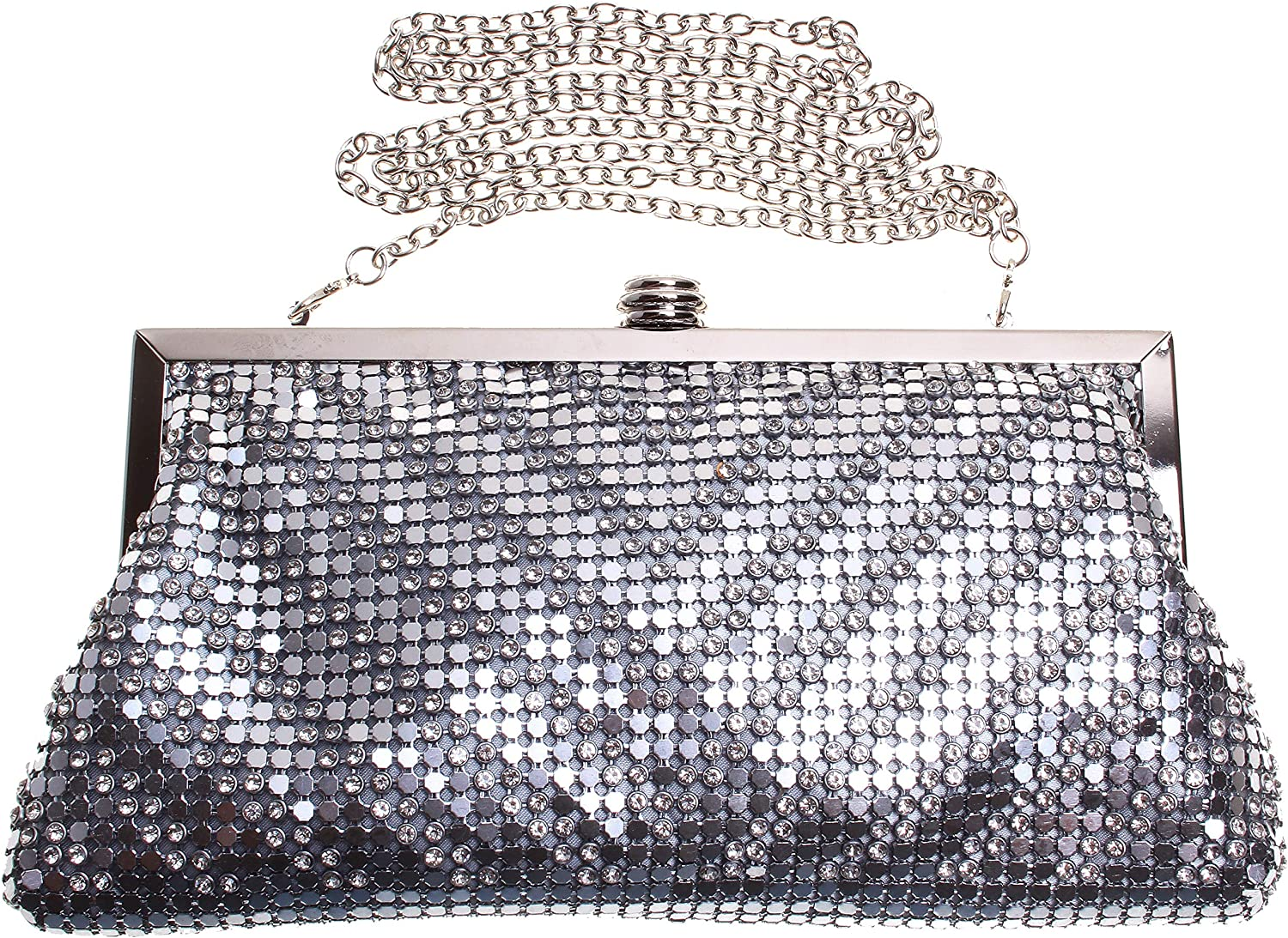 International Concepts Sequins Glitter Clutch Evening Bag;Silver (9.5 LX5 HX1 D)