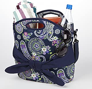Fit & Fresh Maui Insulated Beach Bag for Women, Large Tote for Beach or Pool, Navy Paisley