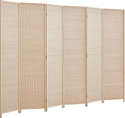 Amazon Com Rhf 6 Ft Tall Bamboo Room Dividers 6 Panel Room Divider Screen Folding Privacy Screen Room Divider Decorative Separationwall Divider Room Partitions Separator Dividers Freestanding Bamboo 6 Panel Furniture Decor