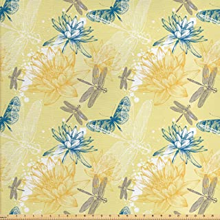 Lunarable Dragonfly Fabric by The Yard, Boho Style Plants and Dragonflies Sketchy Illustration, Decorative Fabric for Upholstery and Home Accents, 2 Yards, Petrol Blue