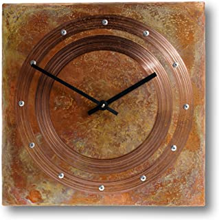 12-inch Copper Square Rustic Farmhouse Decor Gift Wall Clock - Silent Non Ticking Gift for Home/Office/Kitchen/Bedroom/Living Room/7th Anniversary