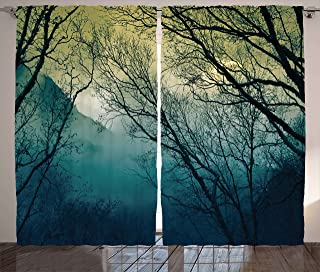 Ambesonne Nature Curtains, Surreal Morning in the Foggy Misty Forest Mountain Valley Habitat Themed Himalayan, Living Room Bedroom Window Drapes 2 Panel Set, 108 W X 96 L Inches, Petrol Blue