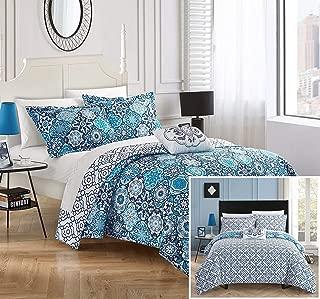 Chic Home Angel 3 Piece Reversible Quilt Cover Set 100% Cotton Bohemian Geometric Print, Twin Blue