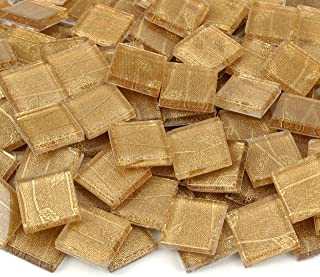Milltown Merchants™ ¾ Inch (20mm) Gold Van Gogh Mosaic Tile - Bamboo Pattern Glass Mosaic Tiles - 3 Pound (48 oz) Bulk Crystal Tiles Assortment For Backsplash, Murals, and Mosaics