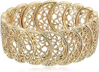 1928 Jewelry Vintage Lace Half-Circle Filigree Stretch Bracelet, 9