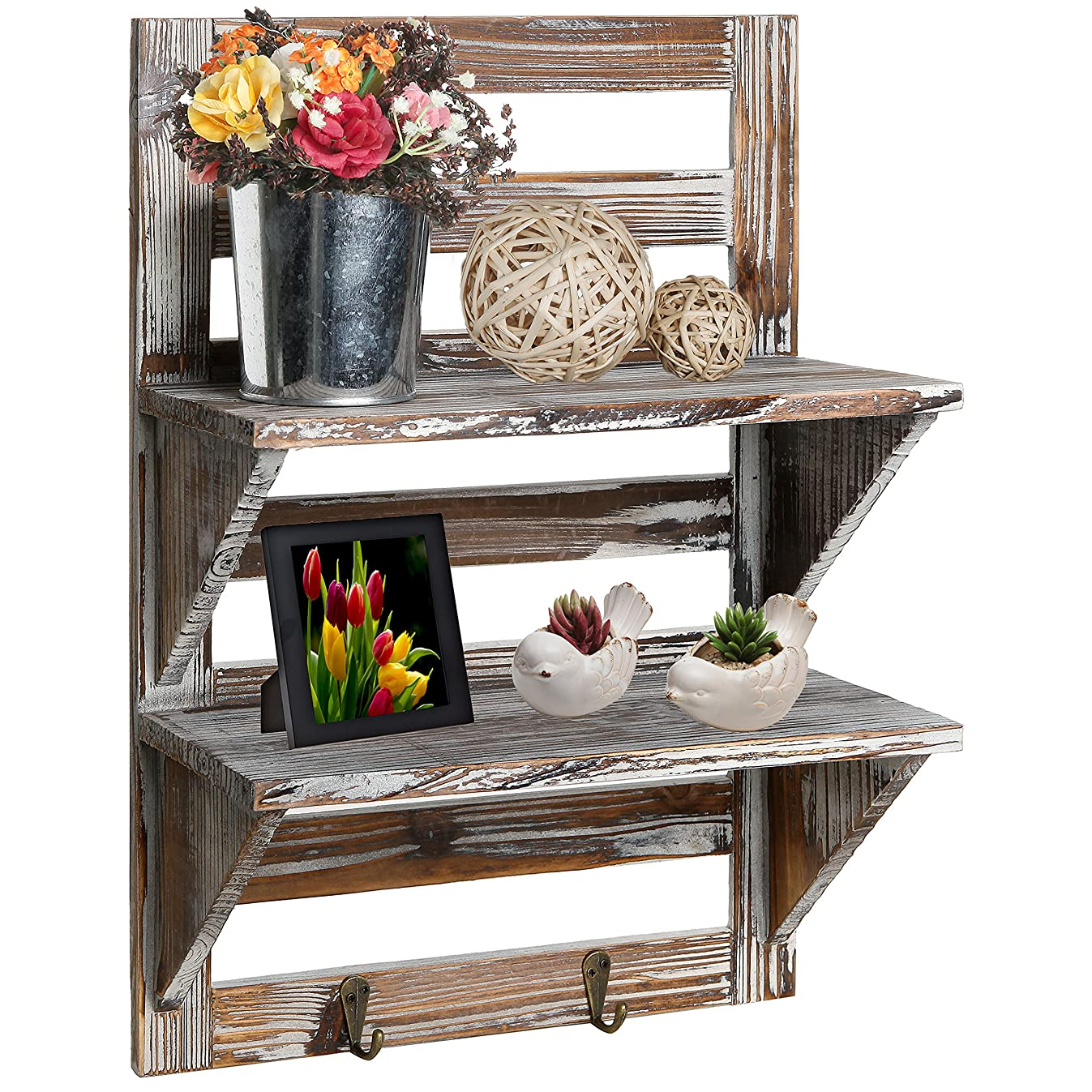 MyGift Rustic Wood Wall Mounted Organizer Shelves w/ 2 Hooks, 2-Tier Storage Rack, Brown