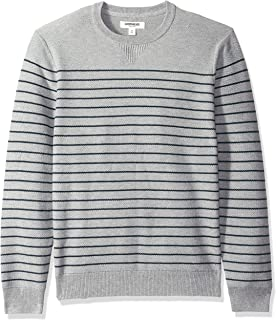 Goodthreads Men's Soft Cotton Striped Crewneck Sweater