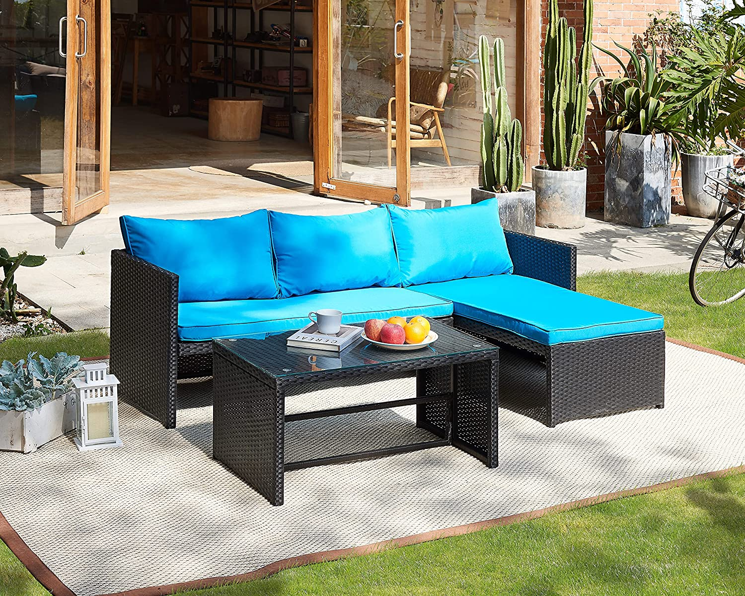 3 Pieces Patio Furniture Sectional トラスト 新作製品 世界最高品質人気 PE 3-Piece Ratt Sets Outdoor