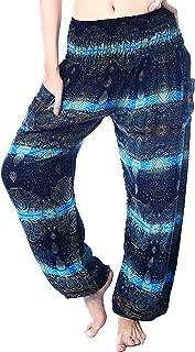 Women's Rayon Print Smocked Waist Boho Harem Yoga Pants