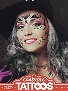 Halloween Realistic Temporary Costume Make Up Face Tattoo Kit Men or Women - (Adult Witch) - 2 Kits