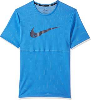 Nike Men's Breathe Run Short Sleeve Wr Po Gx T-Shirt, Blue (Pacific Blue), Large