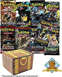 3 Sealed Random Pokemon 10 Card Booster Packs Lot with Random 50 Pokemon Card Bundle! Includes Golden Groundhog Treasure Chest Storage Box!