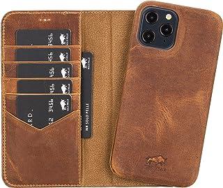Solo Pelle Lederhülle kompatibel für iPhone 12 Pro Max in 6.7 Zoll abnehmbare Hülle (2in1) inkl. Kartenfächer für das original Apple iPhone 12 Pro Max (Vollleder Camel Braun)