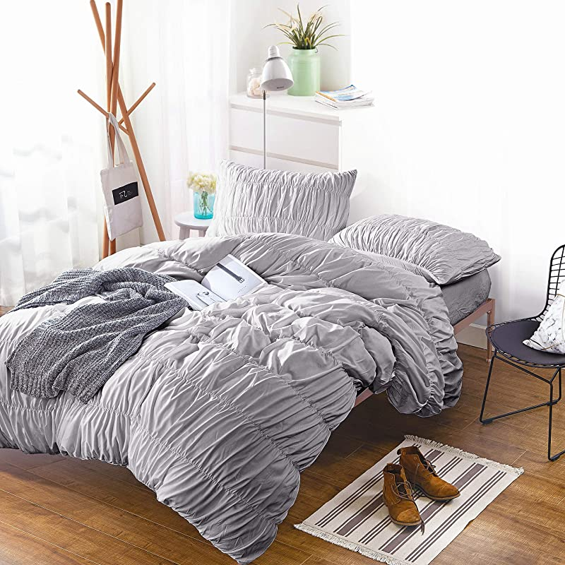 IKONICASA Ruched Gray Duvet Cover Luxury Girly Silky Ruffle Bedding Set Breathable Lightweight Polyester Wrinkle Free Soft Comforter Cover 3 Pieces Queen
