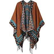 Women's Printed Tassel Open front Poncho Cape Cardigan Wrap Shawl
