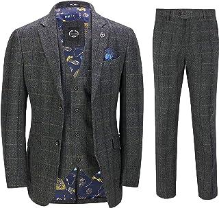 Mens 3 Piece Grey Tweed Suit Herringbone Check Vintage Slim Fit