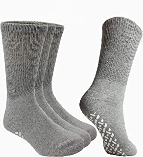 Debra Weitzner Non-Binding Loose Fit Sock - Non-Slip Diabetic Socks for Men and Women - Crew, Ankle 3Pk (CREW GREY with gr...