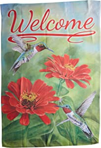 Carson Home Accents Trends Classic Large Flag, Welcome Zinnias & Hummingbirds