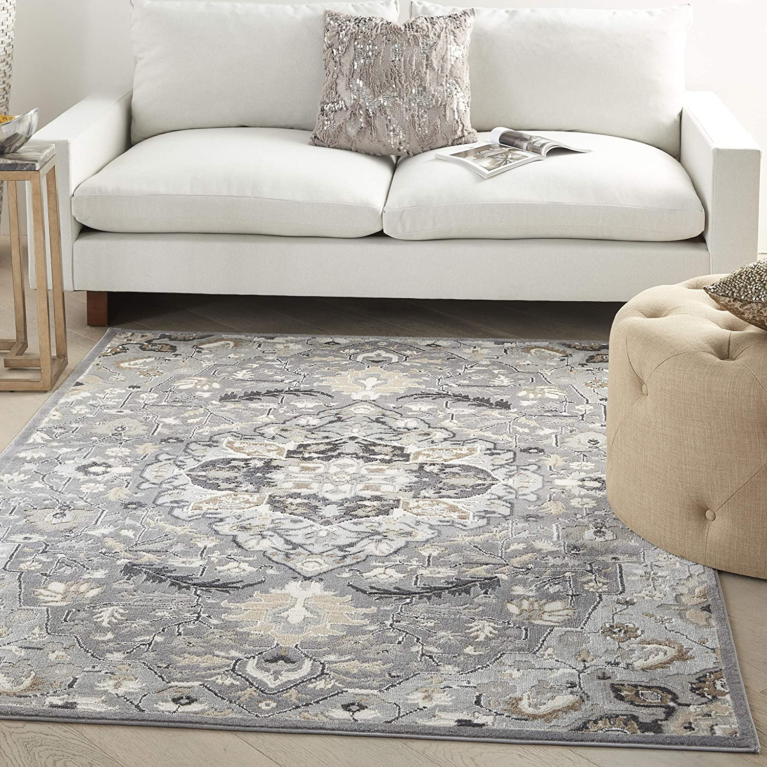 Nourison Elation レビューを書けば送料当店負担 Persian 35%OFF Floral Traditional Grey Area 9' R 12' x