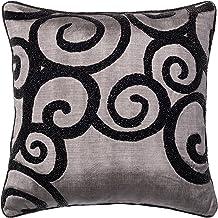 "Loloi P0010 Loloi-PSETP0010GYBLPIL1-Grey Decorative Accent Pillow 100% Rayon Silk Fill, 18"" x 18"" Cover w/Poly, GREY/BLACK"