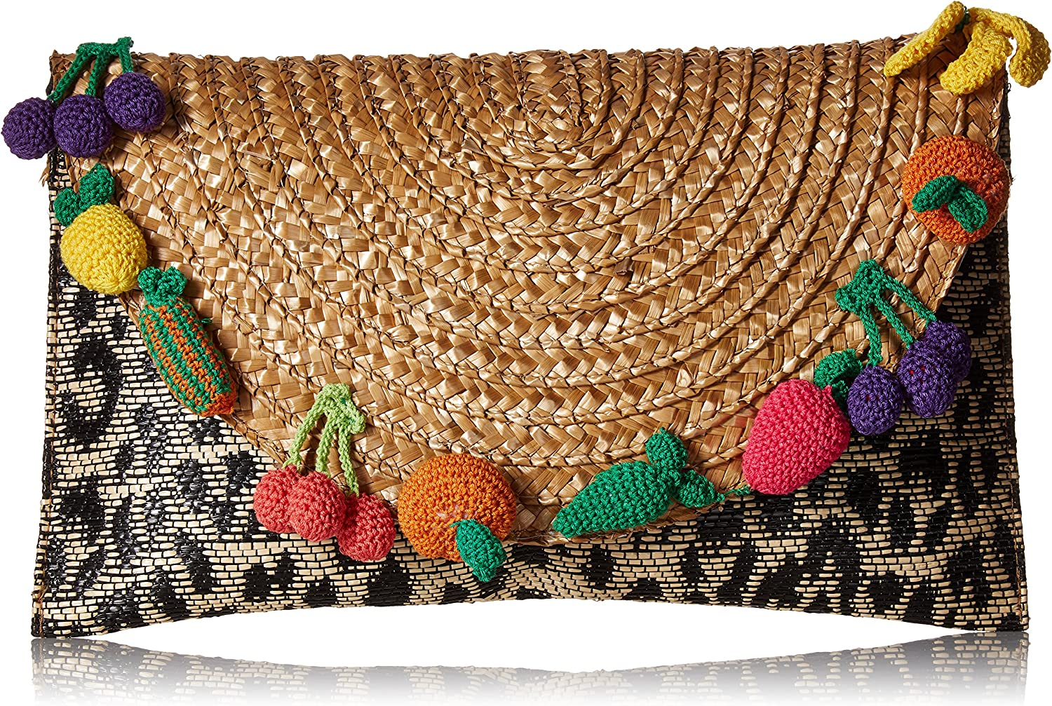Betsey Johnson Fruit and Leopard Straw Clutch