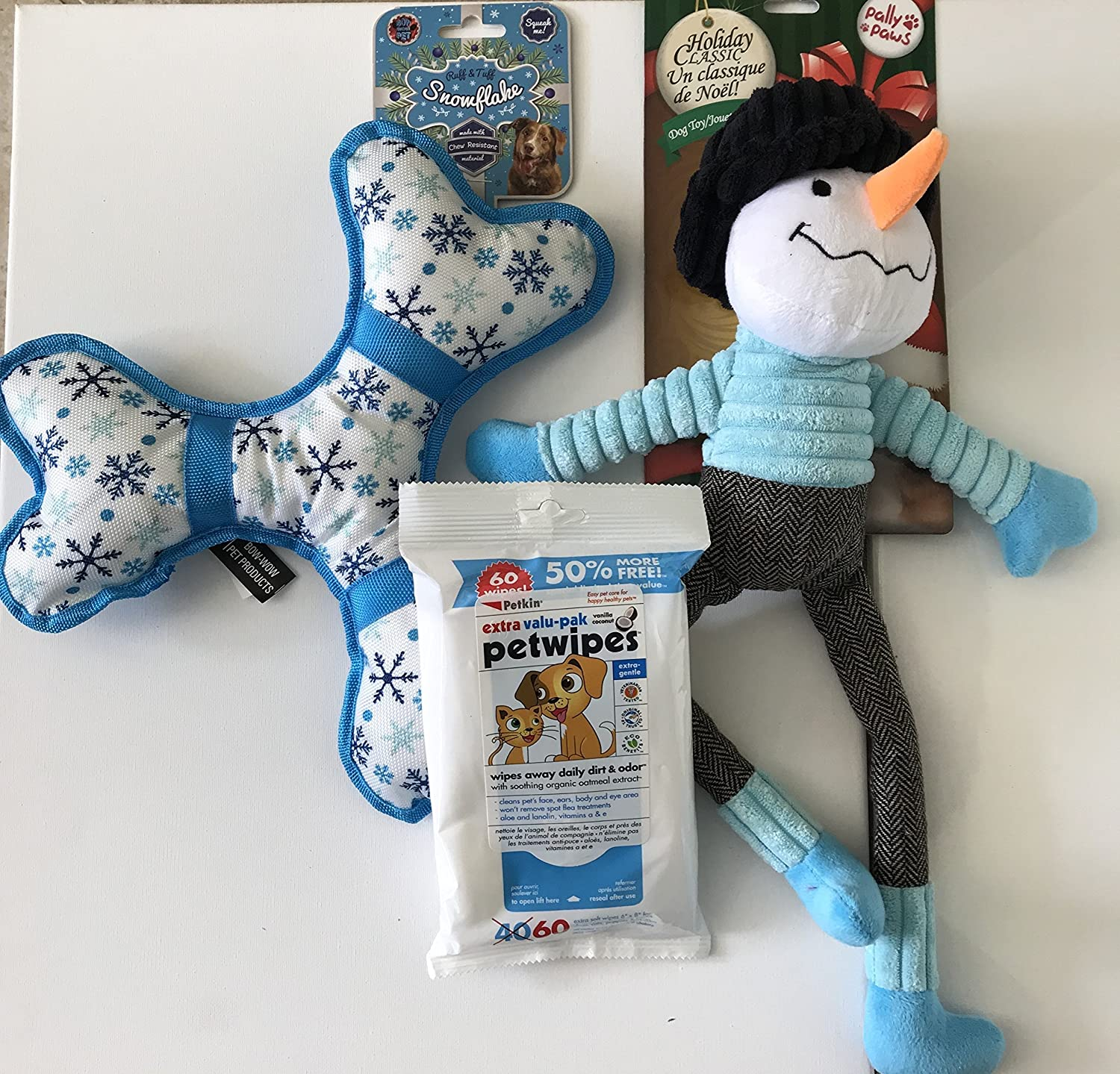 HeyZeus Designs Pet Squeaky Toy Bundle for MedLar Dogs 3 Pieces.Great Holiday Bundle Ready to Go  Includes Reusable Bucket and Ribbon
