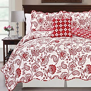 Serenta Printed Paisley Flower 4 Piece Reversible Quilted Coverlet Set, King Red