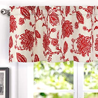 DriftAway Freda Jacobean Floral Linen Blend Blackout Thermal Insulated Energy Saving Privacy Window Curtain Valance Rod Pocket 2 Layers Single 50 Inch by 18 Inch Plus 2 Inch Header Red Beige
