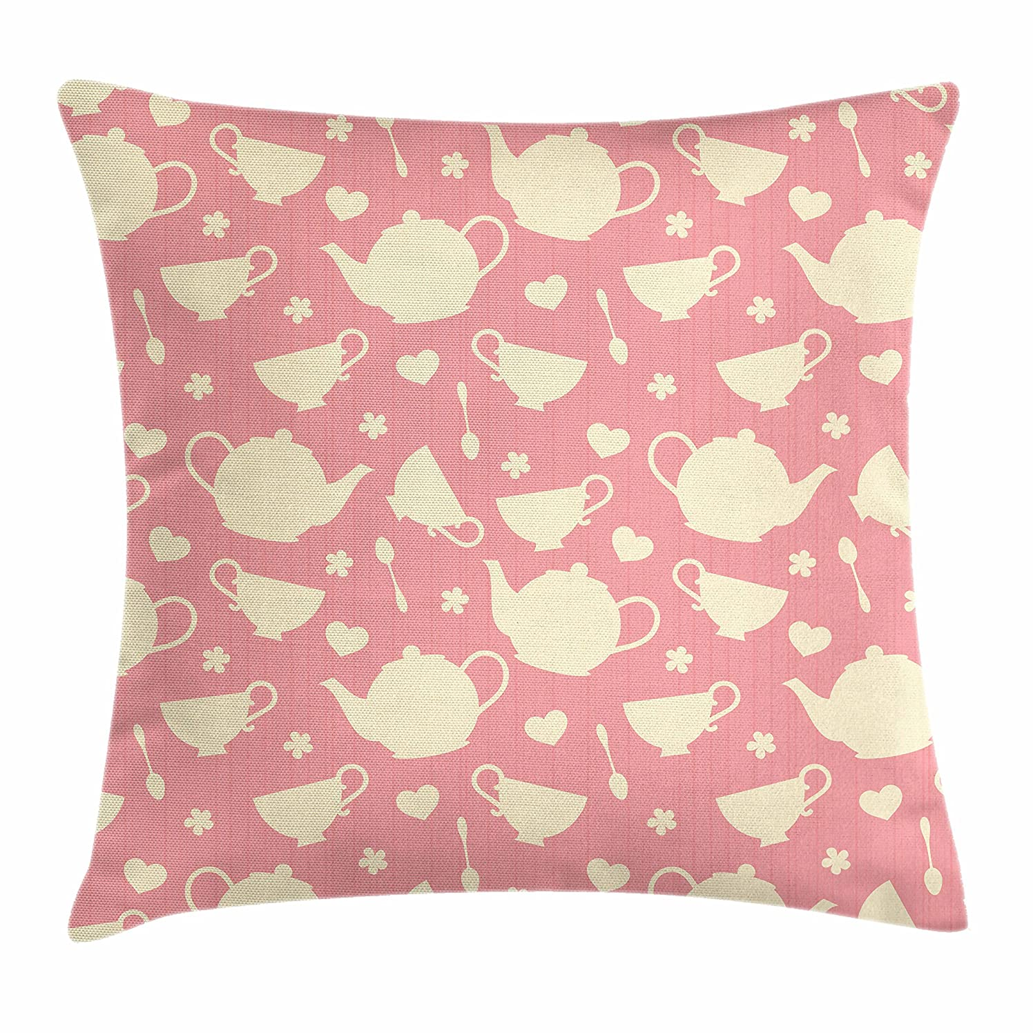 Ambesonne Tea Party Throw Pillow Cushion Cover, White Teapots with Cute Little Hearts and Flowers Illustration British Tradition, Decorative Square Accent Pillow Case, 28 X 28 Inches, Cream Coral