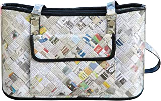Handbag made of recycled newspaper - FREE SHIPPING, upcycled style eco vegan tote satchel repurposed handbags Fair trade ethical special fun present presents cute finds inspiring ideas functional