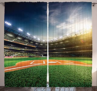 Ambesonne Sports Curtains, Game Thirll Concept Digitally Generated Stadium Arena with Lots of Audience Image, Living Room Bedroom Window Drapes 2 Panel Set, 108