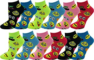 Emoji Socks, 12 Pairs, Womens or Girls, Fun Cute Crew or Ankle Sock, Colorful Smiley Emoticon Design, Soft Novelty Bulk Pack (Assorted Colorful Emojis (Ankle Socks), Kids 4-6 (Shoe Sizes 10-4))